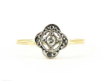 Antique Diamond Cluster Ring, Floral Shaped Rose Cut Diamond Ring. Circa 1900, 18ct & Platinum.