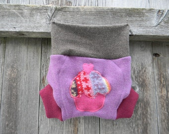Upcycled Merino Wool Soaker Cover Diaper Cover With Added Doubler Purple/ Pink /Taupe With Cupcake Applique SMALL 3-6M Kidsgogreen