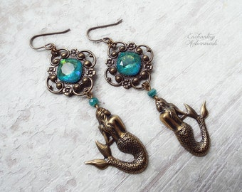 Mermaid Dreams ~ Vintage Brass Art Nouveau Fantasy earrings with Ocean colored Swarovski crystals