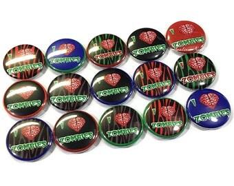 """I Love Zombies, 1"""" Button, Zombie Brain, Zombie Button, Zombie Birthday, Zombie Pinback, Zombie Flatback, Zombie Party, Zombie, Zombie Theme"""