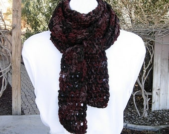 Extra Long Skinny Scarf Dark Brown & Rust Multicolor, Soft Thick Crochet Knit Narrow Wrap, 100% Acrylic Neck Scarf, Ready to Ship in 2 Days