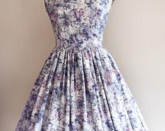 1950s Watercolour Print Dress