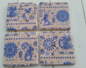 Funky Floral Animal Stone Coaster Set of 4 Tea Coffee Beer Coasters