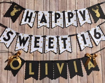 NEW! | Black & Gold Deer | Sweet 16 |  Gold Letters | Happy Birthday Banner with Name