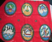 Vintage Craft Fabric Panel Appliques 12 Days of Christmas Fabric Traditions 1991 Ellen Blonder
