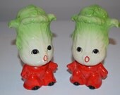 Vintage anthropomorphic salt and pepper shakers - lettuce people kitchen
