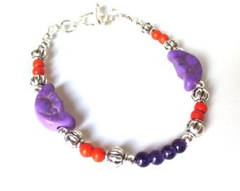 Funky Purple Bracelet - Orange Beads - Fun Jewelry - Purple Moon Beads - Garnet and Magnesite - Small Silver Bracelet - Clemson Colors