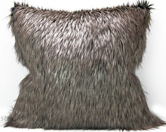 Faux Fur Pillow Cover - 24 inch - brown fur  - euro sham - animal fur - fur pillow - ready to ship