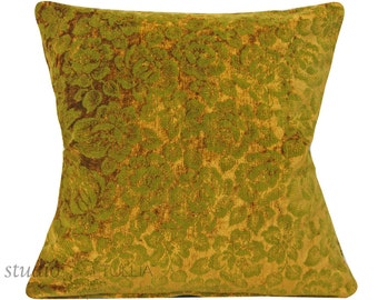 Vintage Velvet Pillow Cover - 20 inch - Floral - olive green - botanical - mid century - ready to ship