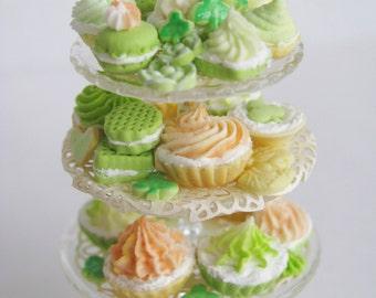 "1:12 Luxury St. Patrick's ""Shamrock Tower"" Dessert Server by IGMA Artisan Robin Brady-Boxwell - Crown Jewel Miniatures"