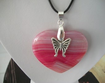 Pink Stone Pendant with Butterfly Charm on Cord Necklace