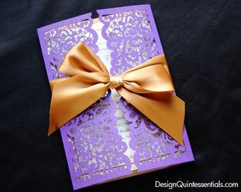 Lace Laser Cut Gatefold Wedding Invitation, Elegant Design Purple & Gold