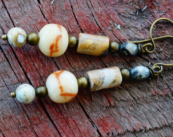 Rustic and Earthy, Jasper and Brass Dangles, Tribal Jewelry, Woodsy and Natural