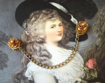 Gold and Pearl Flower Sweater Guard Clip with Chain