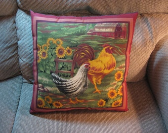 Rooster and Hen Accent Pillow Handmade New 14 Wide 14 Tall