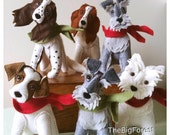 custom handmade miniature felt dog sculptures personalised
