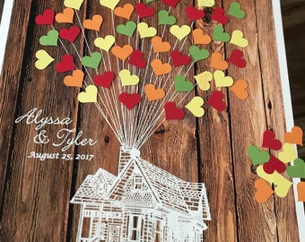 Fall wedding guestbook ideas, house UP with adhesive heart shaped balloon, 3D guest book poster wood rustic wedding, Disney wedding