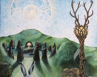 "Original  Watercolour Painting ""Awens Light"" Hare Stone Circle, Druid"