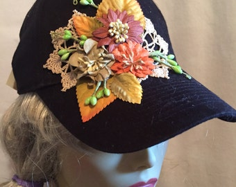 Black Baseball Cap  Decorated with A Collage of Earth Tone Flowers and Vintage Lace