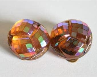 Vintage orange yellow Czech glass earrings.  Clip on earrings