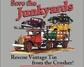 Save the Junkyards Antique Car Ramp Truck T-Shirt (Classic Black or Sport Grey)- Perfect Hot Rod Motorhead Gift