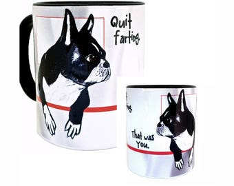 Farting Boston Terriers Black Mug by Pithitude