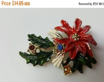 Go With The Snow 40% off Vintage Swag BJ signed Enamel  and  Rhinestone  Brooch