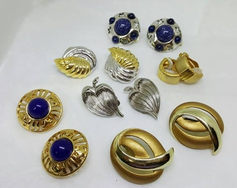 Color Bold Assorted pairs Clip Earrings Retro Earring lot of 6 pair