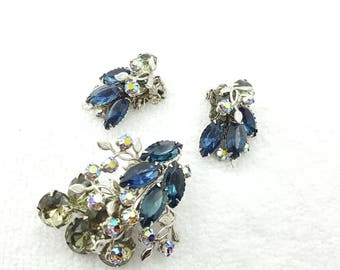 Montana Blue and Smoke Rhinestones  Brooch and  Clip earrings Retro Beau jewels Style Silver tone