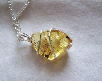 Wire Wrapped Natural Baltic Gold Amber Pendant