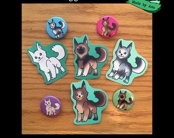 Doggo Bundle! 4 Stickers, 4 Prints and 4 pins!
