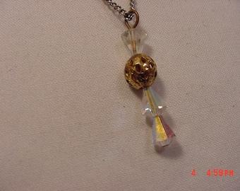 Vintage Crystal Bead Tear Drop Necklace    15 - 757