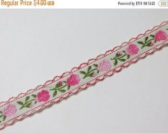 Store Closing SALE Vintage Pretty Woven Rosebud ribbon trim-2 yards-Pink-Sewing-Embellishment
