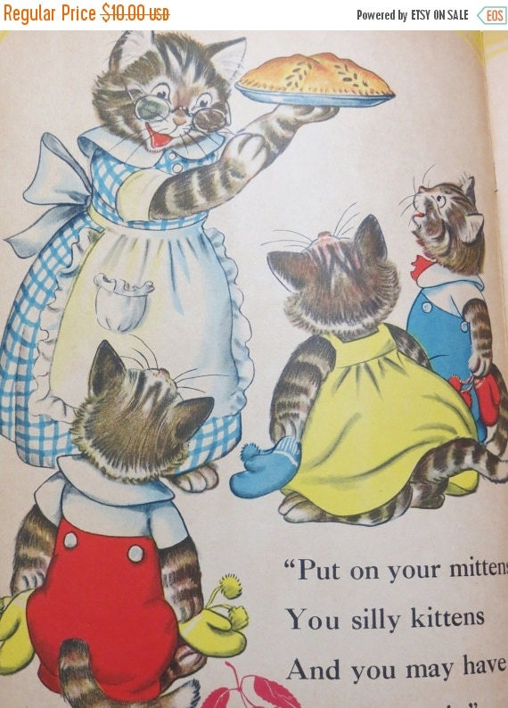 ON SALE Vintage Ruth Newton Childrens Nursery Rhyme Book Print-Three Little Kittens-Book Plate