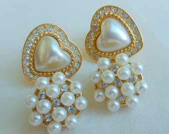 Lot of 2 Vintage Gold and PEARL RHINESTONE Earrings 1 Heart Shaped Signed JS