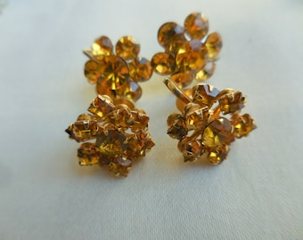 LOT Of 2 Vintage RHINESTONE Earrings Marigold Yellow Amber One Signed CORO