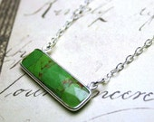 ON SALE- Green Turquoise Bar Necklace - Genuine Apple Green Turquoise Set In Sterling Silver - All Sterling Silver