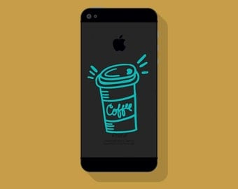 New! - COFFEE CUP VINYL Decal, To Go Coffee Phone Decal, Illustrated Decal, Cell Phone Decal, Vinyl Sticker