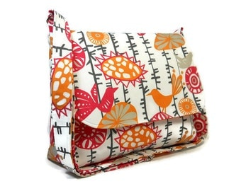 Birds Messenger Bag for Women, Fabric Pocketbook, Cotton Crossbody Bag, Orange Pink Cross Body Purse, Birds Flowers Handbag, Handmade Purse