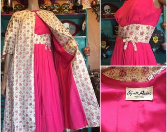 1950s Rare Vintage Elizabeth Arden Dress coat designer set museum quality fuchsia pink Valentine Sale wedding metallic lame brocade