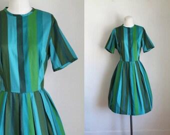 vintage 1960s dress - COLOR WHEEL teal & green striped dress / M