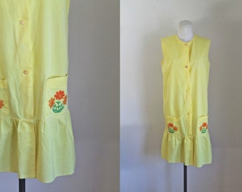 vintage 1960s dress - GERBERA yellow drop waist dress / M-L