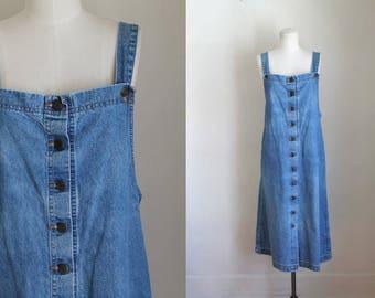 vintage denim dress - AMERICAN PROFILE button front jean jumper dress / L