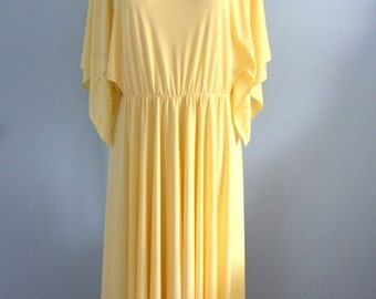 Sale 20% OFF New Old Stock Vintage LILLI DIAMOND Bohemian Hostess Chic Kaftan Tunic Cocoon Style Yellow Dress