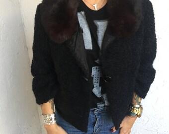 Vintage Winter Cropped Black Boucle Jacket Coat Rabbit Fur Collar