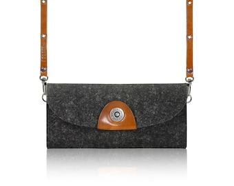 2017 SLOWDESIGN Crossbody clutch, pouch, purse, wallet for your Phone - - DARK felt, LIGHTBROWN leather