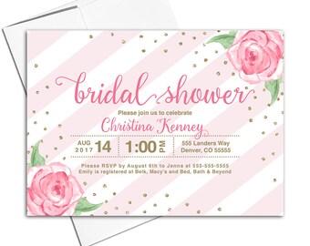 Blush Bridal Shower Invitation Printable | floral bridal shower invitation printed | gold and blush wedding shower invites - WLP00617