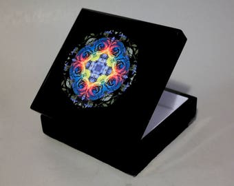 Music Box Keepsake Box Trinket Box Rainbow Rose Mandala Boho Sacred Geometry Hippie Kaleidoscope Unique Gift For Her Spectrum Open Heart