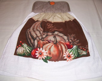 Oven Door Hanging Towel-Give Thanks-Kitchen Towel ,Potholder,Linens-Ready To Ship