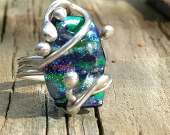 Fused Dichroic Glass and Fine Silver Ring